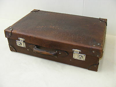 Beautiful age Leather Case, old suitcases 50er Years, Iconic Design