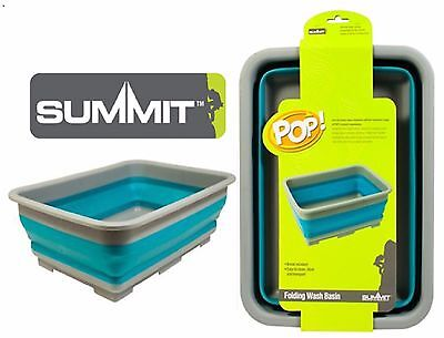 NEW Summit POP Space Saving Folding Down Silicone Wash Basin, Camping, Caravan!