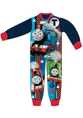 NEW THOMAS THE TANK ENGINE Fleece Onesie Boys Pyjamas Ages - 18 Months - 5 Years