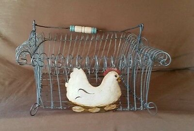 Farm Egg Gathering Wire Basket Vintage Chicken