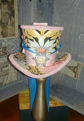 Victorian Riding Day Hat, Mini Steampunk Top Hat Fascinator Mad Hatter, Easter
