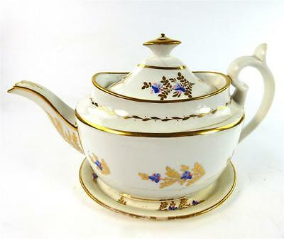C1800 Antique Minton Porcelain Bute Teapot With Stand Pattern 76