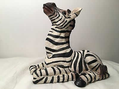 Zebra Statue Resin Black & White Stripes Safari 9x11 Laying Down Large Figurine
