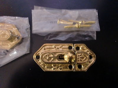 2 Cupboard Latches Restoration New Old Stock Hardware Reproduction Brass
