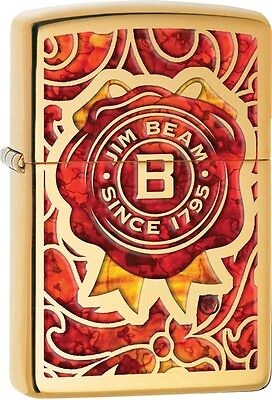 Zippo Jim Beam Fuzion Burnt Wax Logo Solid Brass WindProof Lighter NEW 29319