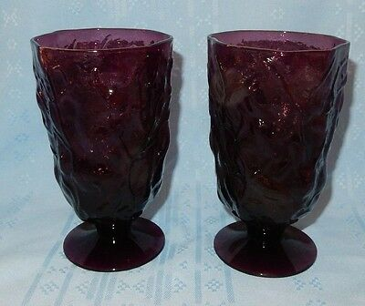 Set of 2 Morgantown Purple Footed Tumblers Seneca Driftwood Crinkle 13 oz Goblet