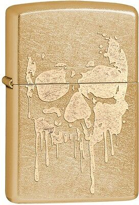 Zippo Grunge Skull Paint Drip Gold Dust WindProof Lighter NEW 29401