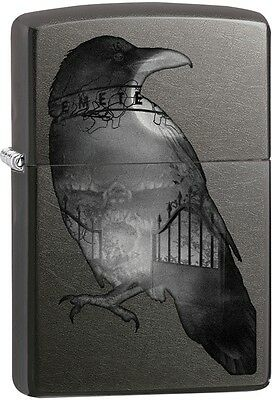 Zippo Double Exposed Raven Goth Shadowy Gray WindProof Lighter NEW 29407