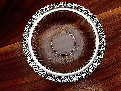 Webster Co. Sterling Silver & Etched Glass Bowl Floral Border No Monogram