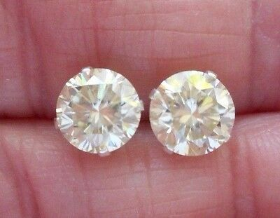 EARRING PAIR SILVER 2.46TCW 1.23ct VVS1 7.00mm ICY CANARY WHITE ROUND MOISSANITE