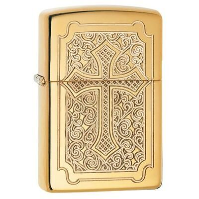 Zippo Armor Windproof Lighter With Deep Carved Cross, Eccentric 29436 New In Box