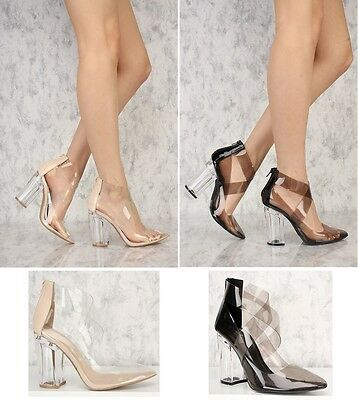 a96e414ab92 QUPID Women s Clear Strappy Pointy Toe Chunky High Heel Bootie  Ranker-03