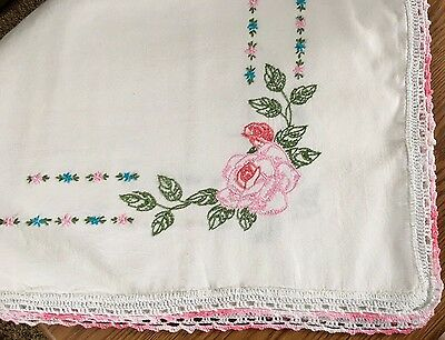 """Vintage Embroidered Pink Flowers Roses Tablecloth With Crocheted Edge 44"""" X 36"""""""