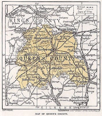 1923 map of Ireland: Queen's County (Laois) ready mounted ready to frame SUPERB