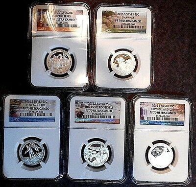 2016-S Atb Silver Proof Ngc Pf70 5-Coin Set Free Shipping