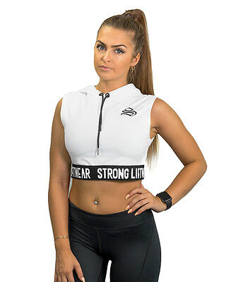Strong Liftwear Ladies Signature Cropped Top Hoodie Multi-Coloured Gym Sports