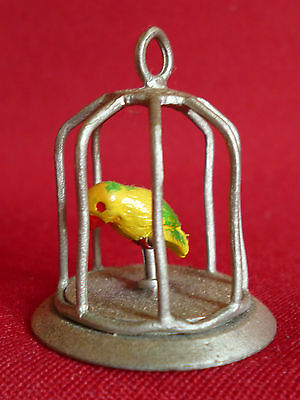 Pewter - Bird  In a Birdcage Collectors Thimble