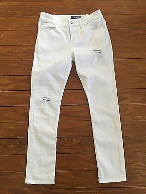 Old Navy Jeans White Skinny Denim Patch Girls Size 14 Tween