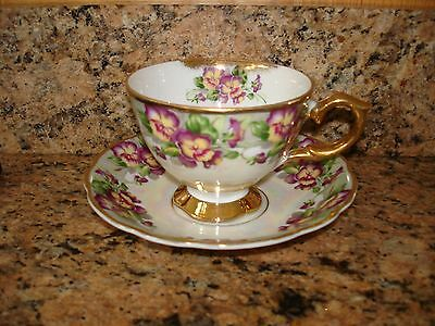 Vintage Nippon Cup Saucer Hand Painted Iridescent Pansies Gold Japan