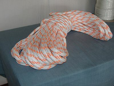 Double Braid Polyester 5/8x150 feet arborist rigging tree bull rope white orange