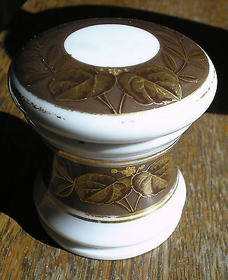 Antique Vtg Porcelain Apothecary Pharmacy Cream Jar Hand Painted French ? Signed