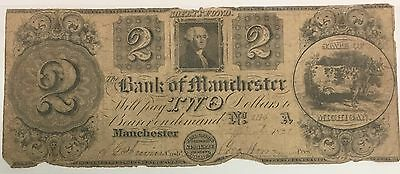 Bank Of Manchester Two Dollar $2 Note 1837
