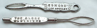2 Antique Advertising Shoe Glove Button Hooks Desmonds Los Angeles Daisy 1916 Nr