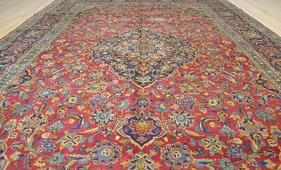 8x12'3 Fine Genuine S Antique Persian Kashan Hand Knotted Oriental Wool Area Rug