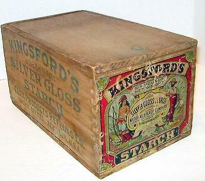 Kingsford's Silver Gloss Starch Antique Wood Lidded Box, National Starch Co, Ny