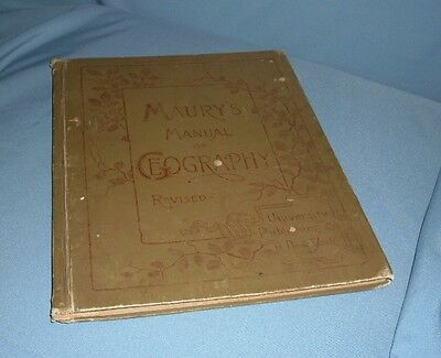 ANTIQUE MAURY'S GEOGRAPHY BOOK ATLAS OF WORLD MAPS plus NEW JERSEY SECTION 1893