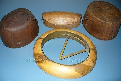 Old Hat Mold Wood Millinery Hatmaker Bowler Stretcher Chicago Lot Parts Hatters