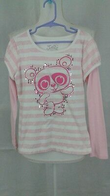 Justice girls size 8 pink/white long sleeve striped 100% cotton top