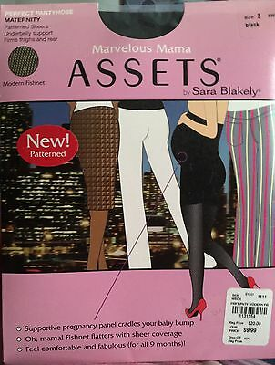 Marvelous Mama ASSETS Maternity Pantyhose Size 3 Black Modern Fishnet NEW In Pkg