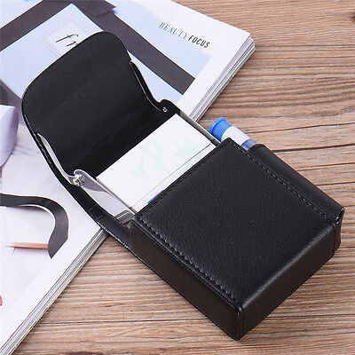 Cigarette Box Cigar Case Stainless Steel+PU Leather with Lighter Pocket