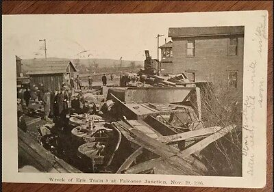1905 RPPC Real Photo Post Card Erie Train 8 Wreck In New York Includes History