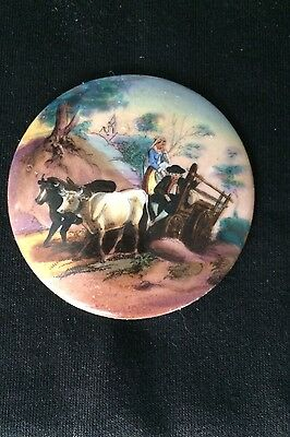 Antique 1800's Hand Painted Porcelain Plaque - French Couple in 2 Ox Hay Wagon