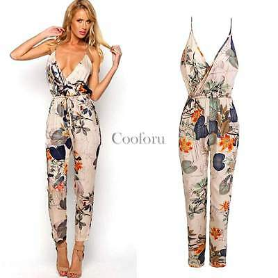 Women Ladies Clubwear V Neck Playsuit Bodycon Party Jumpsuit&Romper Trousers New