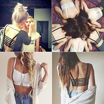Lady Bralette Caged Back Cut Out Strappy Padded Bra Bralet Vest Crop Top