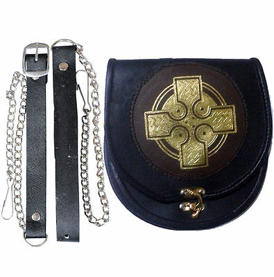 Gold Deluxe Cross Black Brown Leather Sporran for Kilts with Free Chain & Belt