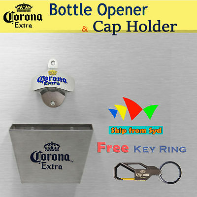 Corona wall mounted bottle opener Stainless Bar Cap Catcher+Screws Key Ring Free