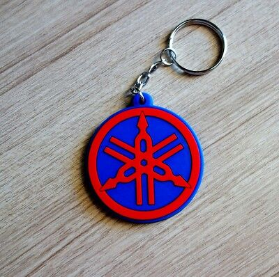 YAMAHA Logo Keychain Red Blue Keyring Rubber Motorcycle Bike Racing Gift New