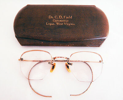 Vintage Artcraft 1/10 12K GF Yellow B&L Eyeglasses Cable Temples Retro w/ Case
