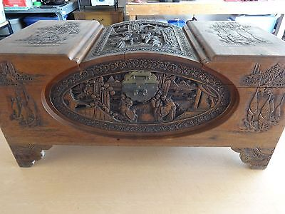 Antique Chinese hand carved dome chest, Camphor lined, Beautiful.