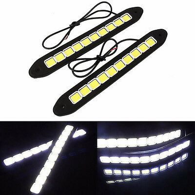 2PCS 20W Waterproof LED 12V Daytime Running Light DRL COB Strip Lamp Fog Car FT