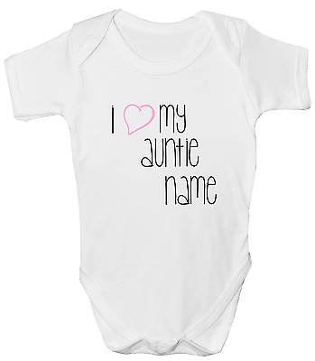 New Funny Personalised Baby Gift I LOVE MY AUNTIE UNCLE Babygrow Bodysuit Vest