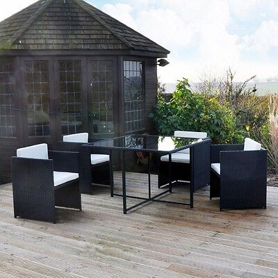 5Pc Black Rattan Cube Table Chair Garden Furniture Set Outdoor Patio 4 Seater