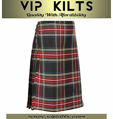 Scottish Black Stewart Men's 5 Yard Tartan 13oz Highland Scottish Casual Kilt