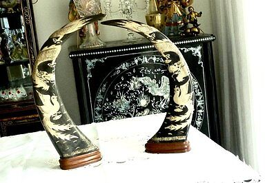 Exquisite Hand Crafted Antique Buffalo Horn Pair Dragon / Phoenix Scene China C
