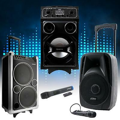 DJ PA mobile Party Sound Musik Systeme Bluetooth USB MP3 Funk Mikrofon Trolley
