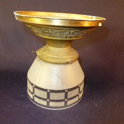 Antique Art Deco Ceiling Light w/ Frosted Glass Globe & Plate Vintage